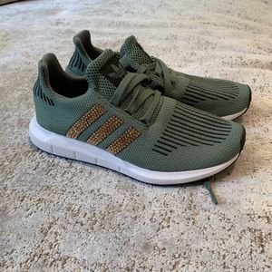 Olive Adidas with Gold Swarovski Crystals - Size 5